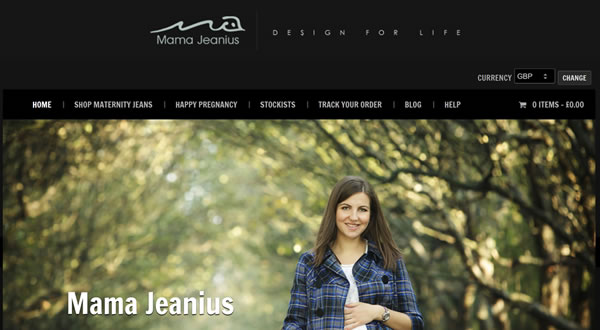 Website design for designer maternity jeans brand